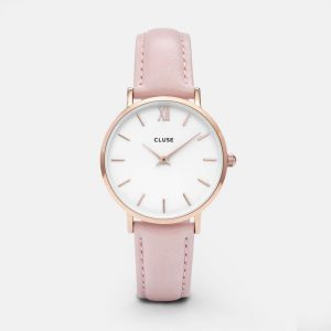 montre cluse minuit rose gold white pink cl30001